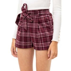 Women's Love Tree Plaid Shorts, Sz L NWT